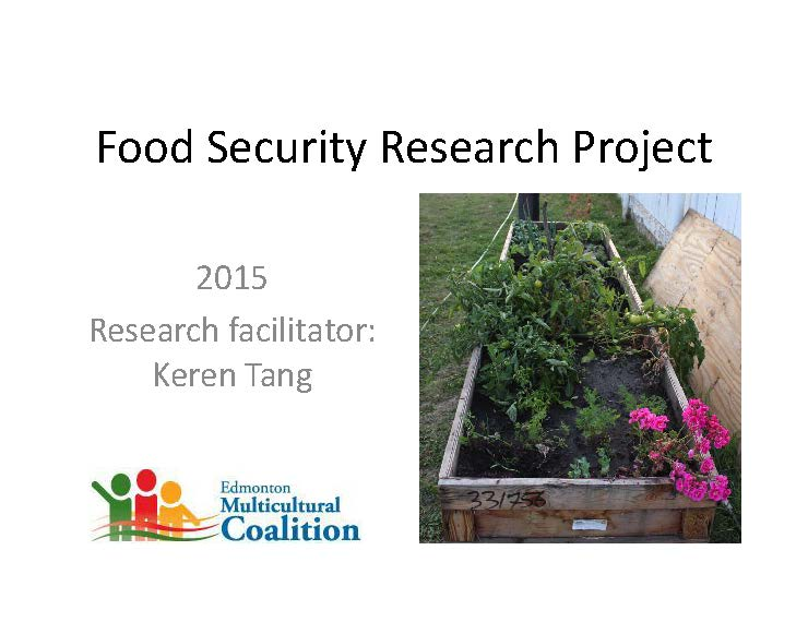 Title Slide-Food Security Research Presentation-Edmonton Multicultural Coalition